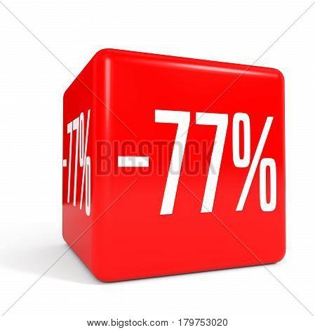 Seventy Seven Percent Off. Discount 77 %. Red Cube.