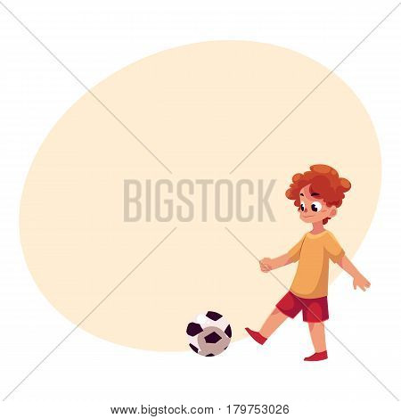 Teenage Caucasian boy kicking football ball, cartoon vector illustration with place for text. Boy playing football, kicking ball, having fun at the playground