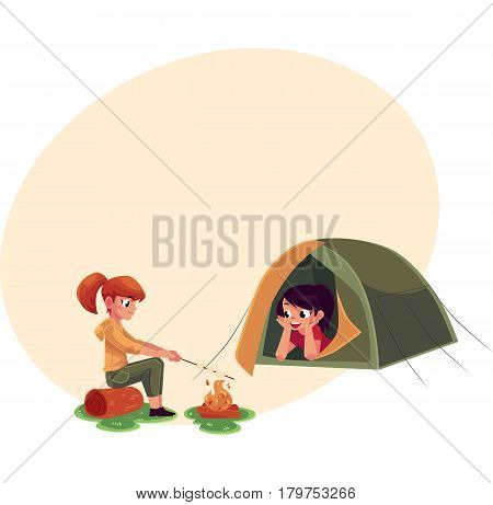 Girls frying marshmallow on fire and looking out of camping tent, cartoon vector illustration with place for text. Kids camping, hiking, lying in tent and frying marshmallow