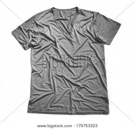 Gray wrinkled T-shirt. Isolated on white background