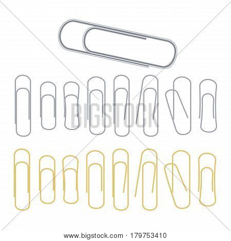 Small Binder Clips Vector Isolated On White. Realistic Clip Set