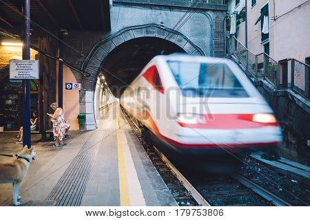 MANAROLA- ITALY: SEPTEMBER 03 2016: High speed electric train at the railway station