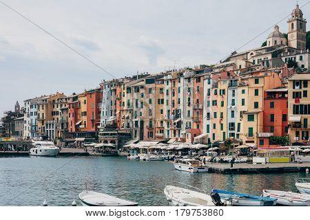 Beautiful Colorful Houses And Boats In Scenery Italian Village Portovenere