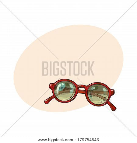 Fashionable round sunglasses in red plastic frame, summer vacation attribute, sketch vector illustration with place for text. Hand drawn round glamorous sunglasses, symbol of summer vacation