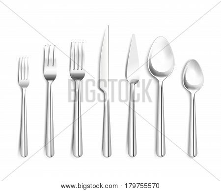 Realistic shiny silverware top view 3d design with forks knives spoons on white background isolated vector illustration