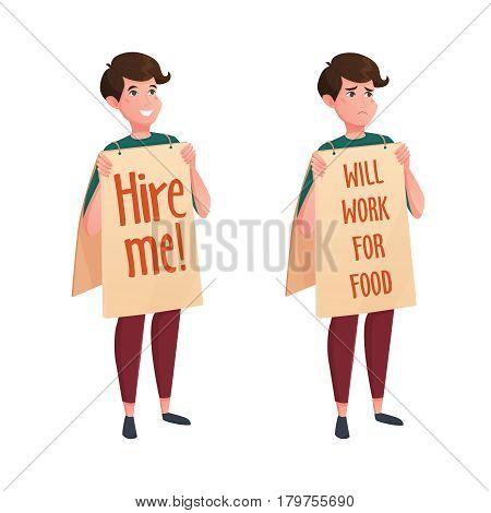 Job street search decorative icons set of two young men with promotional posts looking for any job flat vector illustration