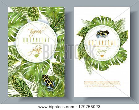 Vector tropical vertical banners with monstera, croton leaves and little frog. Exotic design for cosmetics, spa, perfume, health care products. Can be used as wedding or summer background