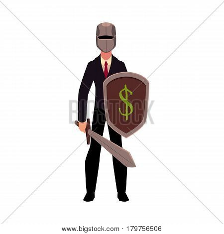 Businessman as a knight in metal helmet holding sword and shield, cartoon vector illustration isolated on white background. Modern knight in business suit and helmet armed with sword and shield
