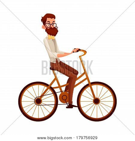 Bearded man in vest and bow tie riding a bicycle, cycling, cartoon vector illustration isolated on white background. Full length, side view portrait of bearded man, scientist riding a bicycle, cycling