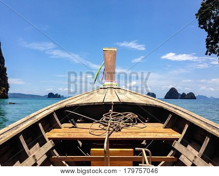 Long Boat Tranditional With Rope And Anchor Of Krabi, Thailand