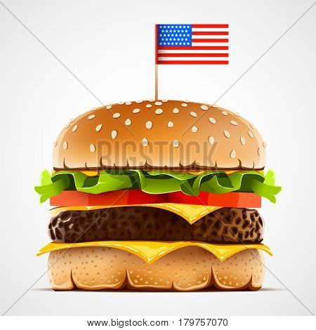 Realistic hamburger with cheese lettuce and tomato. Cheeseburger with usa flag as american food symbol. Vector illustration