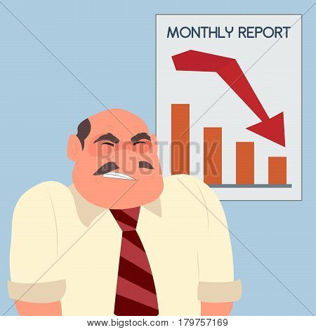 Angry furious businessman crisis arrow down graph, vector illustration cartoon. Schedule of falling sales.