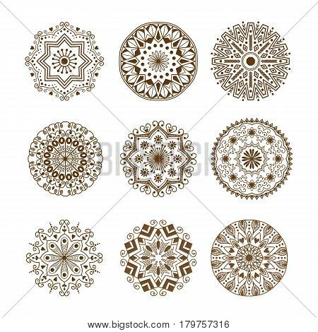 Henna tattoo brown mehndi flower template doodle ornamental lace decorative element and indian design pattern paisley arabesque mhendi embellishment vector. Traditional decorative mandala element. poster
