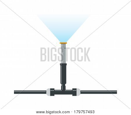 Water irrigation isolated. Automatic sprinklers system icon. Vector illustration flat design