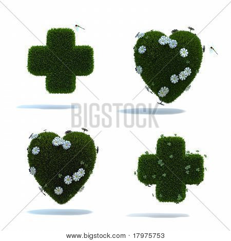 green cross and heart