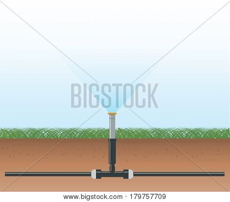 Automatic water irrigation system. Vector illustration flat design