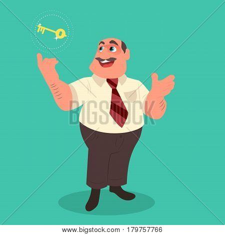 Businessman holding golden key secret of success. Flat style vector illustration.