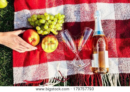 Photo of fruit, champagne and stemwares on red plaid. From above.