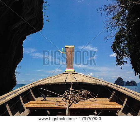 Long boat tranditional with rope and anchor of Krabi Thailand