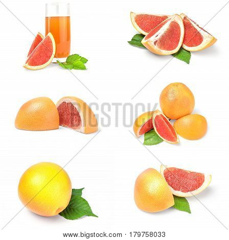 Collection of grapefruit over a white background