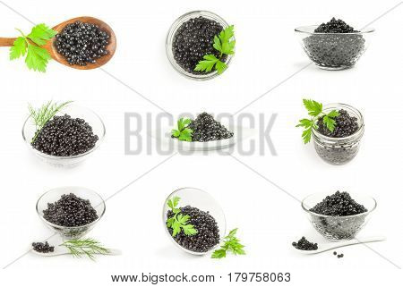 Set of black beluga caviar isolated on a white background cutout