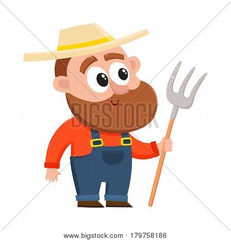 Funny farmer, gardener character in straw hat and overalls holding hayfork, pitchfork, cartoon vector illustration isolated on white background. Comic farmer character, design elements