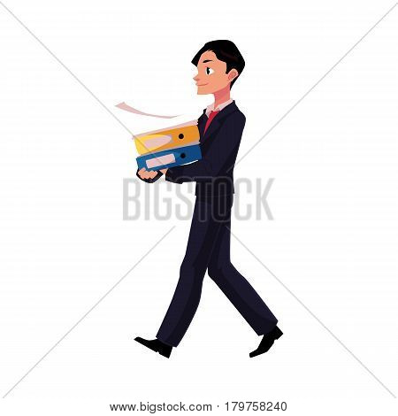 Young businessman going somewhere, carrying folders, cartoon vector illustration isolated on white background. Young businessman with pile of document folders
