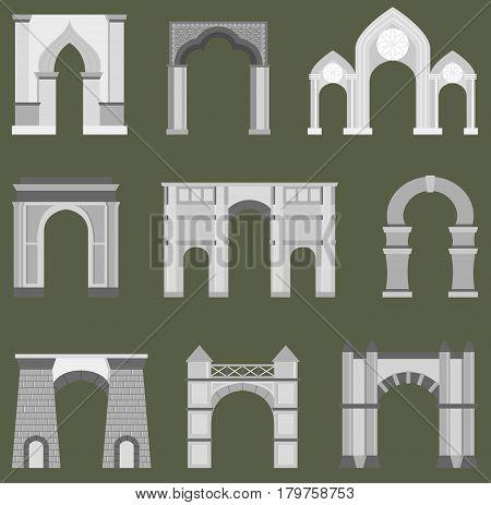 Arch vector architecture construction frame. Column entrance design