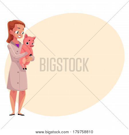 Young woman, female veterinarian doctor, vet in white medical coat holding little pig, cartoon vector illustration with place for text. . Female, woman veterinarian doctor, vet holding a piglet