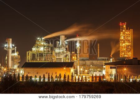 The Coal power plants station at night