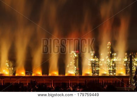 The Steam power plants at night on outdoor