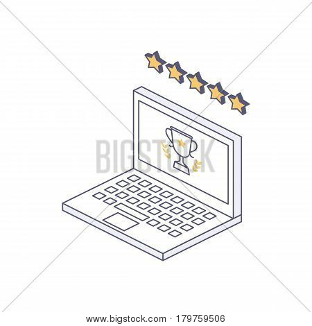 User reviews, best choice award isometric illustration