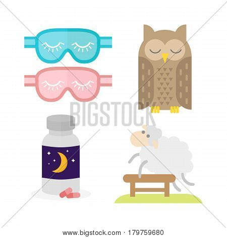 Sleep time icon flat isolated vector illustration. Sleep icon set sweat dream. Counting sheep to fall asleep vector illustration. A bottle of sleeping pills. Sleeping owl.
