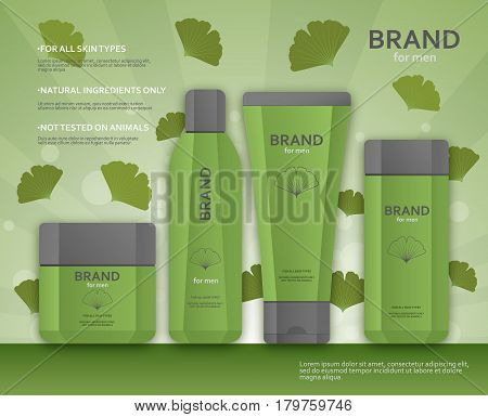 Cosmetic bottles template for men with ginkgo biloba leaves. Vector illustration.