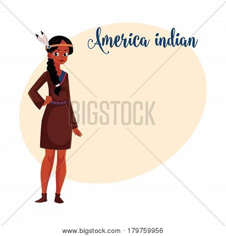 Native American Indian woman in traditional, national short buckskin dress, cartoon vector illustration with place for text. Native American, Indian woman in national clothes