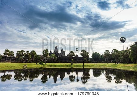 Angkor Wat (Temple City) and its reflection in the lake