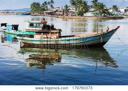 fishing boats in the gulf of Phu Quoc island