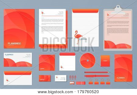 Vector set of business stationery and logo design.  Corporate identity template. Abstract flamingo logotype design made with golden ratio principles.