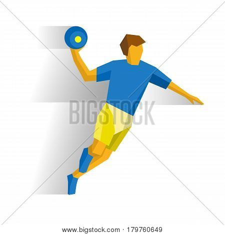 Running handball player. Athlete isolated on white background with shadows. International sport games infographic. Sportsman running with ball in hand - flat style vector clip art.