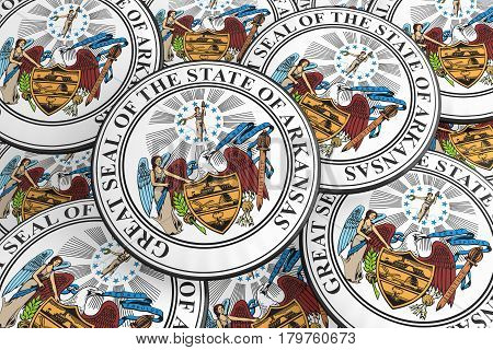 US State Buttons: Pile of Arkansas Seal Badges 3d illustration