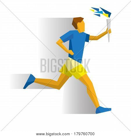 Running torchbearer. Athlete isolated on white background with shadows. International sport games infographic. Sportsman with torch - flat style vector clip art.