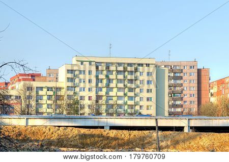 TYCHY POLAND - MARCH 26 2017: Apartment blocks from communist times in Tychy City in Poland.