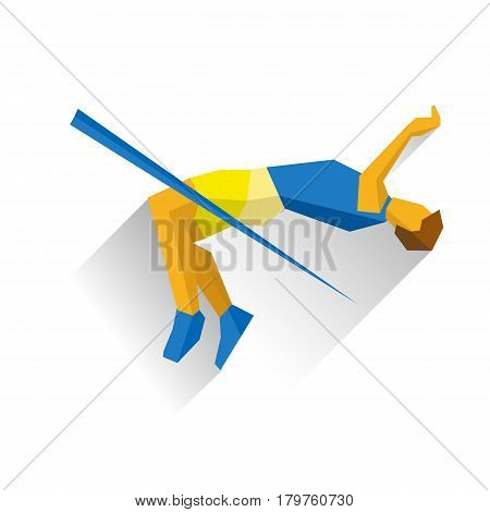 Sportsman jumping over the bar, high jump competition. Athlete isolated on white background with shadows. International sport games infographic. Track-and-field athletics - flat vector clip art.