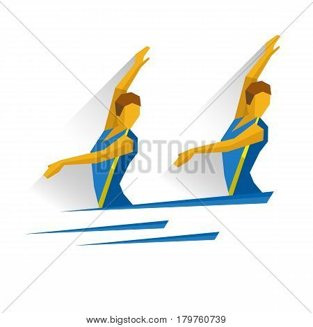 Synchronized swimming. Athlete isolated on white background with shadows. International sport games infographic. Two girls swimmer in the water - flat style vector clip art.