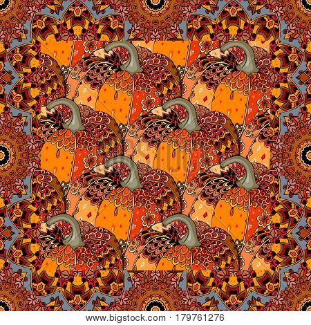 Lovely tablecloth with thanksgiving holiday symbol. Bandana print in Halloween style. Vector illustration.