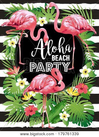 Aloha Beach party. Hawaiian party. Vector illustration of tropical birds, flowers, leaves.