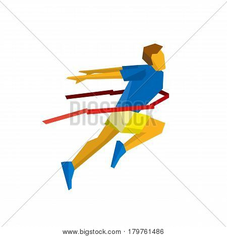 Running athlete crosses a finish line red ribbon. Athlete isolated on white background with shadows. International sport games infographic. Winning runner - flat style vector clip art.