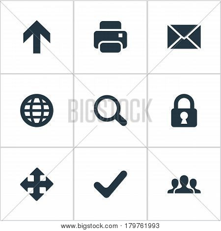 Vector Illustration Set Of Simple Apps Icons. Elements Check, Printout, Arrows And Other Synonyms Print, Zoom And Search.