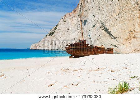 Navagio Shipwreak beach of Zakinthos island, Greece