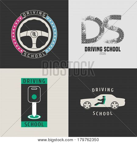 Set of automobile driving school vector icons. Wheel print car key graphic design elements